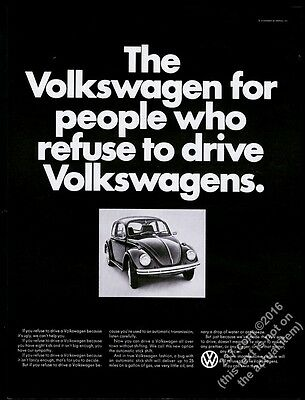 1968 VW Volkswagen Beetle classic car photo For People Who Refuse print ad