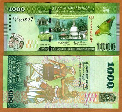 Sri Lanka, 1000 Rupees, 2018,  P-New, UNC > Commemorative, 70 years of independ.