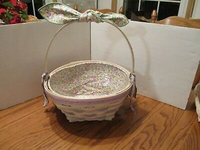 Longaberger 1999 White Washed Easter Basket Combo and Handle Tie