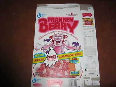 Franken Berry  1987 Ghost Marshmallows  Cereal Box