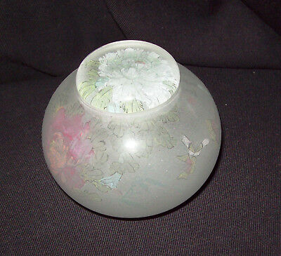 Satin Glass Stunning Bowl & Lid Pastel Reverse Etched Flowers & Butterflies