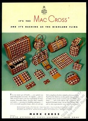 1942 Mark Cross MacCross Scotch plaid luggage suitcase photo vintage print ad