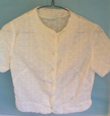 Vintage 1950's Fitted White Eyelet Cotton Blouse All Lace Edges Small USED