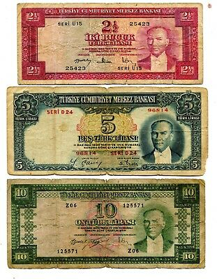 Turkey Lot Of 3 Old Notes Vg 9.95