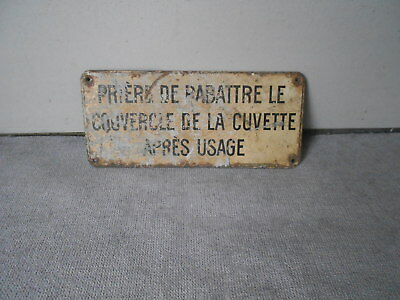 French Vintage tole metal Water Closet PLAQUE Sign