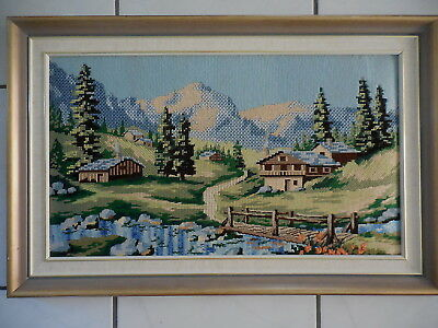 Tapestry Collection D Paris 3D Picture Swiss Mountains Completed & Framed