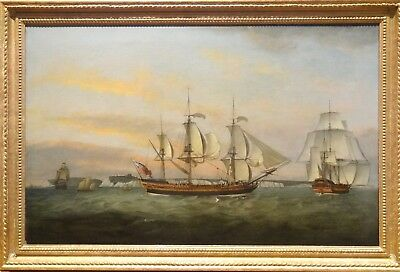 Fine Large 18th Century British Naval Ships Dover Kent Antique Oil Painting