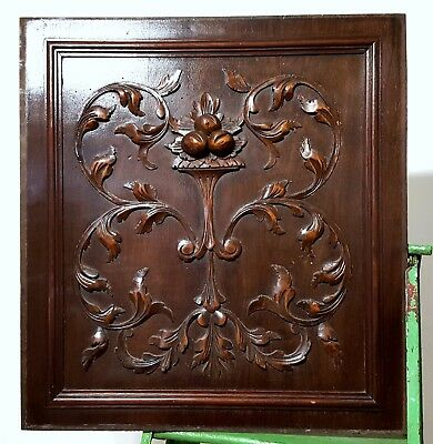 Hand Carved Wood Panel Matched Pair Antique Rococo Fruit Architectural Salvage