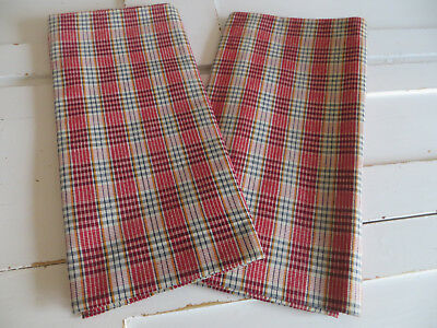 """Unused Set Of Two (2)  Cottage Pillowcases Euro Shams  Checked Linen 28"""" by 26"""""""