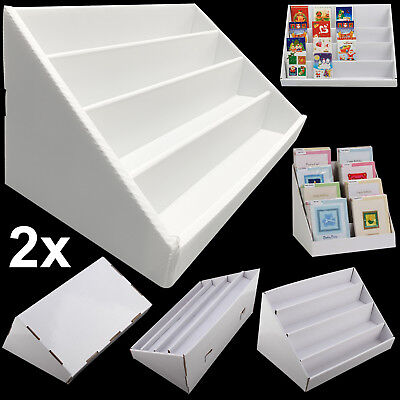 2pcs 4 tier white collapsible cardboard greeting card display stand 2pcs 4 tier white collapsible cardboard greeting card display stand holder rack m4hsunfo