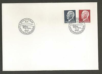 SWEDEN - 1972 -1973 King Gustaf VI Adolf - New Drawing  - FIRST DAY COVER.