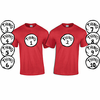 Thing 1, 2, 3, 4- 10 Fancy Dress Book Day T-Shirt Sold Separately 3-4 to 5XL