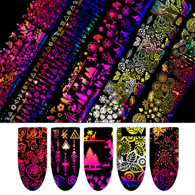 10 Sheets Holographic Nail Foil Rose Butterfly Nail Art Transfer Stickers DIY