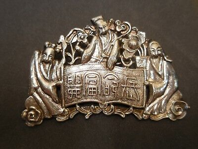 """Vintage Chinese Silver Pin """"old Men Smiling - Laughing"""" Pin/brooch Excellent"""