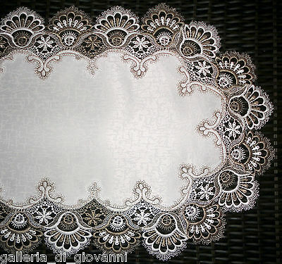 "Dresser scarf Delicate Trim Classic Two-Tone Lace Table Runner 44""  Doily"