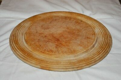 Used Wooden Bread Board With Turned Design Edge.