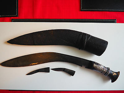 Antique Kukri Gurka In Box Type Mount With Alloy Handle