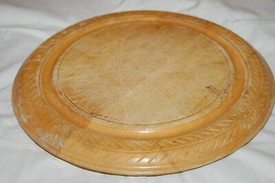 Used Wooden Bread Board With Carved Edge Design.