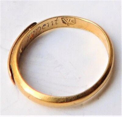 NO RESERVE 17th Century Gold Posy Ring 'Hearts Content Cannot Repent' Antique