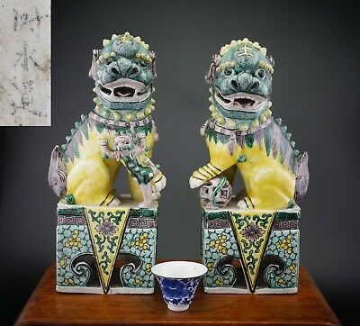 LARGE! Pair Antique Chinese Famille Verte Wucai KANGXI Style Buddhist Lion 19thC