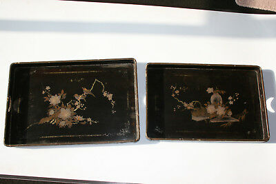 2 Pcs Antique Chinese Wooden Hand Painted Lacquer Tray Plate - Marks