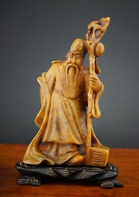 Antique Chinese Soapstone Carving Figurine Shou Lao Shou Xing on Stand