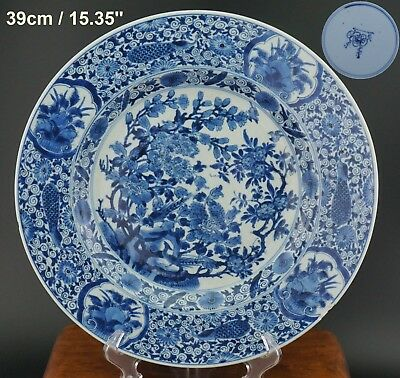 SUPERB! HUGE 39cm Antique Chinese Porcelain Blue and White Plate KANGXI 18th C
