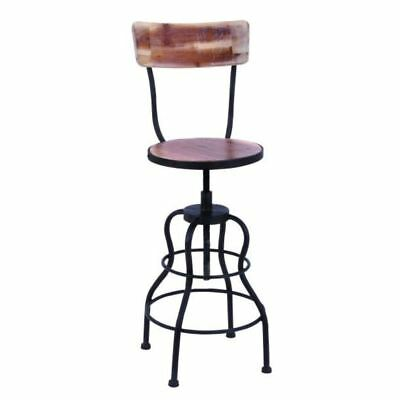 Antique Wood And Steel Bar Chair With Adjustable Seat