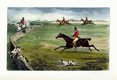 Fox Hunting Horses And Fox Hounds Jumping Stone Wall Antique Sporting Scene