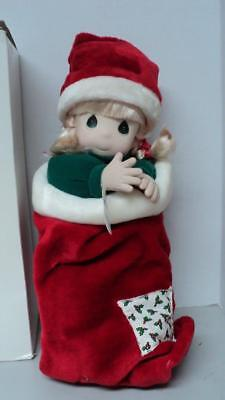 Precious Moments Doll Nikki Blonde Doll in Christmas Stocking NEW in Box QVC