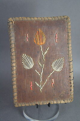 Good & Unusual Antique Native American Indian Micmac Quill & Birch Bark Notebook