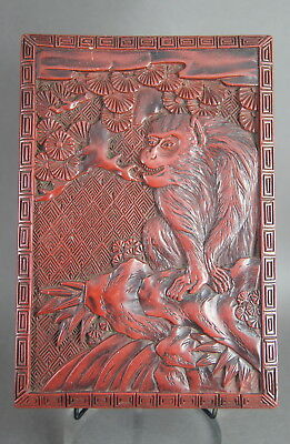 V Fine Old Antique Japanese Meiji / Taisho Carved Lacquered Wooden Box W/ Monkey