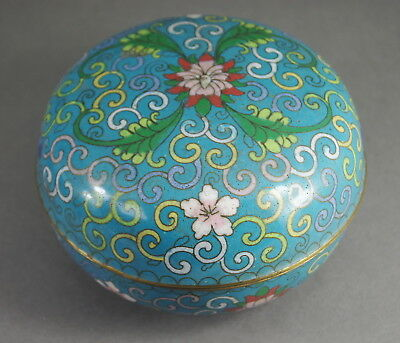 Lovely Antique Qing Dynasty Chinese Round Cloisonne Box W/ Floral Decoration Nr!