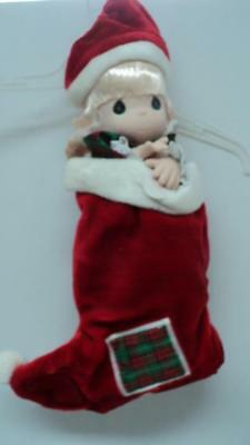 Precious Moments Doll Jingles Blonde Doll in Christmas Stocking NEW in Box QVC