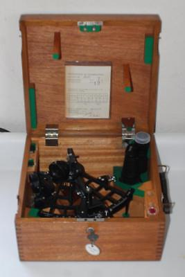 Vtg Simex Mk Ii Navigational Sextant, Wood Case & Certificate Of Examination