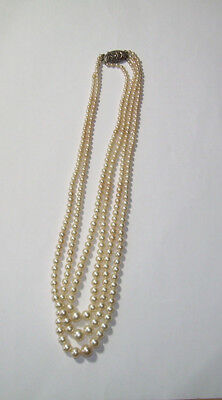 Pearl necklace Sterling silver Marcasite 3 strand 16 inch Vintage