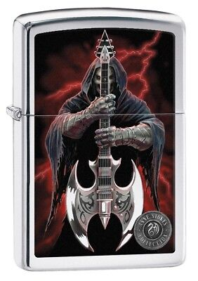 Zippo Lighter - Anne Stokes Grim Reaper High Polish Chrome