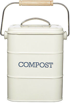 Kitchen Craft Cream Living Nostalgia Compost Waste Worktop Bin & Odour Filter