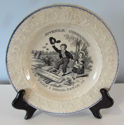 "Antique Early 19thC Pearlware Child's ABC Plate - "" Juvenile Companions """