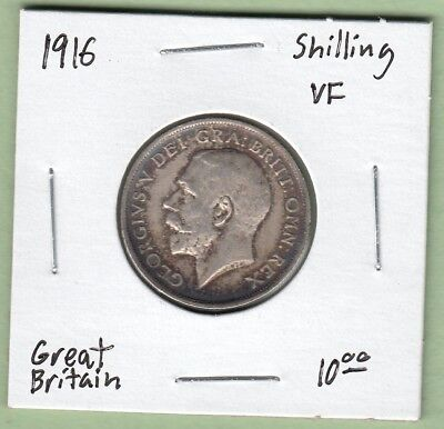 1916 Great Britain One Shilling Silver Coin - VF