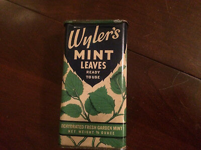 WYLER'S Mint Leaves- litho slide-top tin w/ amazing colorful leaf graphics