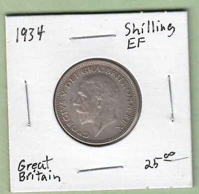 1934 Great Britain One Shilling Silver Coin - EF