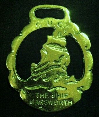 Vintage G.U.C. THE SHIP MARSWORTH Horse Brass MARITIME HISTORY! WOW YOUR WALLS!