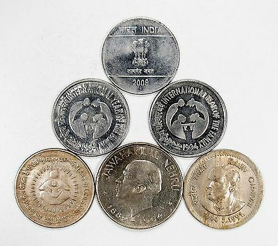 Lot of 6 1964 - 2008 India Commemorative 1 Rupees #102821 R