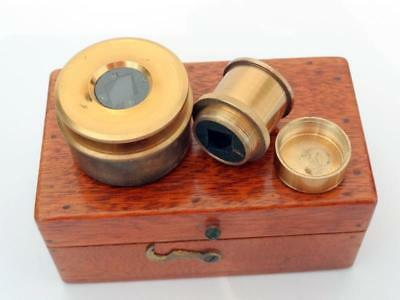 Antique MICROSCOPE SUBSTAGE & OBJECTIVE POLARISER SET SCIENTIFIC in CASE VGC