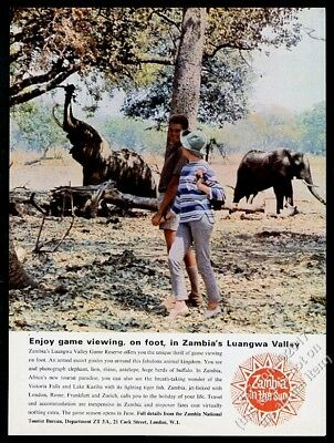 1965 Zambia elephant Luangwa Valley travel vintage print ad