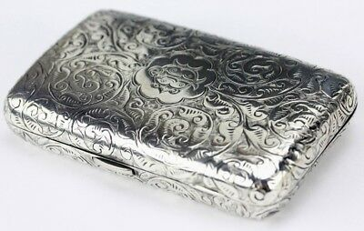 Antique Victorian Era English Sterling Silver Ornate Engraved Card Case NR PBB