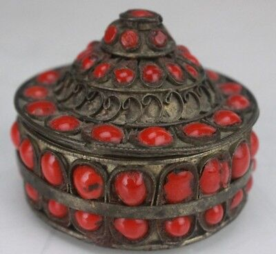 Tibet Tibetan Silver Plate Red Coral Glass Bejeweled Domed Jewelry Trinket Box