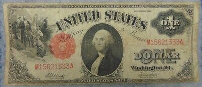 1917 $1 One Dollar U.S. Treasury Note Circulated Ungraded Elliot White Red Seal
