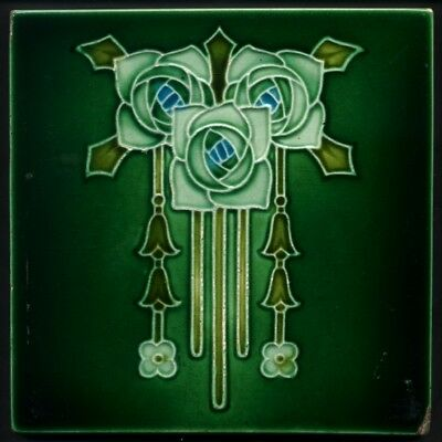 TH3301 Super Design Art Nouveau Glasgow Macintosh Roses Blues and Greens Tile